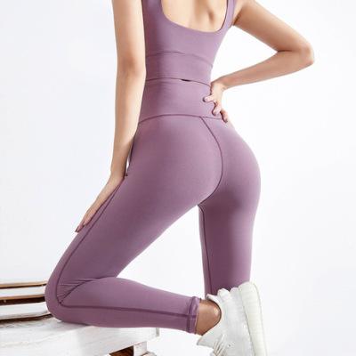 欧美纯色高腰提臀裸感瑜伽裤 跑步运动健身裤女 无痕蜜桃臀紧身裤