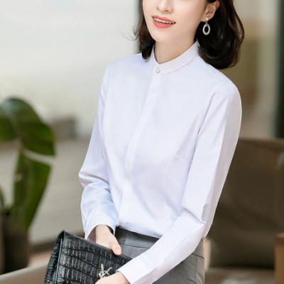 立领暗门襟白衬衣女长袖棉OL通勤职业工装休闲韩版修身女JK衬衫