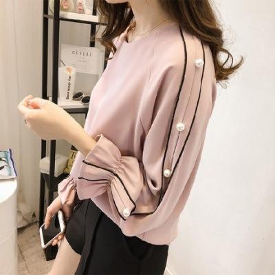 2019秋季新款韩版大码女喇叭雪纺衬衫长袖钉珠打底衫