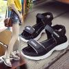 夏季凉鞋女学生韩版百搭防滑舒适厚底原宿风松糕底魔术贴平底凉鞋