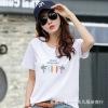 厂家批发 纯棉t恤女短袖2019夏季新款女装韩版女式字母宽松打底衫