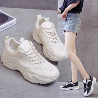 老爹鞋女ins潮秋季百搭学生厚底黑色脏脏运动鞋显脚小网红熊猫鞋