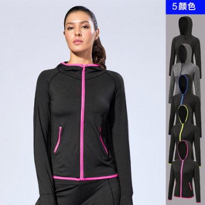 女士秋冬运动外套 健身瑜伽训练跑步 拼色拉链帽衫速干外套8003