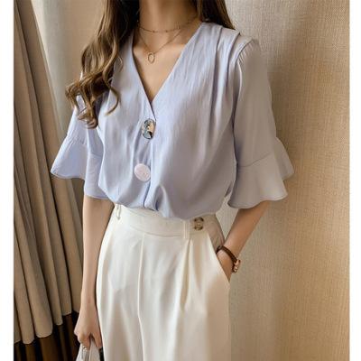 夏装2019新款时尚韩版V领雪纺衫女宽松很仙的上衣洋气短袖衬衣潮