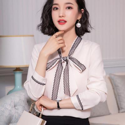 【Zeying】雪纺衬衫女长袖19秋装新款韩版气质上衣蝴蝶结系带小衫