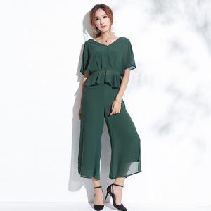 2019夏季新款欧美女装时尚气质V领两件套女阔腿裤雪纺衫套装 女