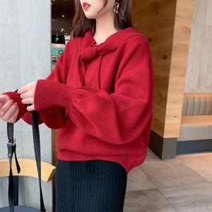 很仙的毛衣女2019春秋装新款学生宽松韩版红色洋气百搭上衣原宿风