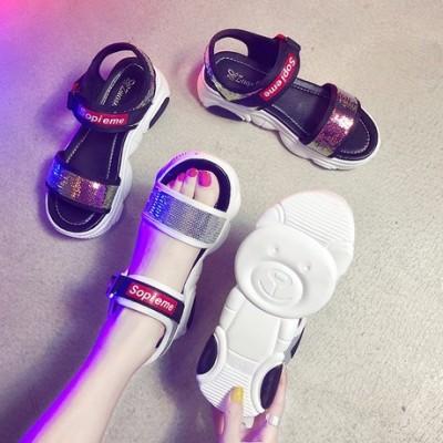 运动凉鞋女2019新款夏季韩版休闲鞋网红小熊鞋厚底百搭炫彩沙滩鞋