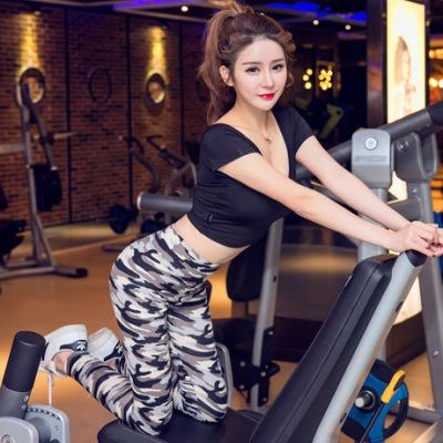 新款迷彩瑜伽服女装春夏透气运动服短袖跑步健身套装