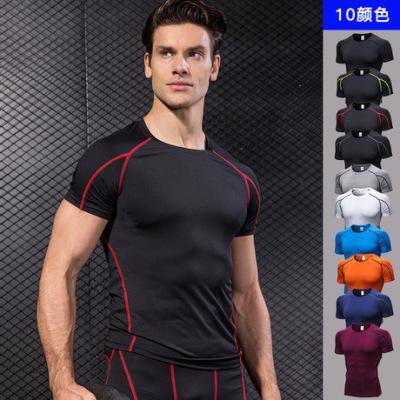 男士PRO紧身短袖 健身运动跑步训练服弹力速干衣短袖T恤衣服1053