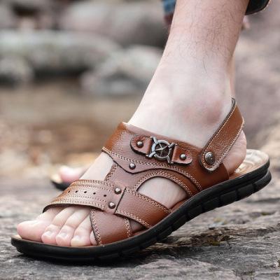 2019新款聚氨酯透气露趾男式凉鞋拖鞋两用真皮休闲潮流外穿沙滩鞋