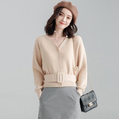 2019秋冬新品短款腰带v领长袖外搭开衫外套女装针织衫毛衫毛衣女
