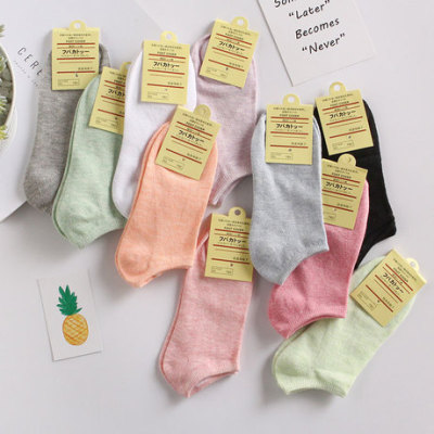 彩棉女袜 爆款女船袜 糖果色女士袜子 纯色隐形女棉袜浅口短袜