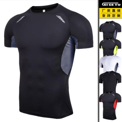 厂家直销新款男士紧身训练健身衣跑步短袖运动服亚马逊弹力速干衣