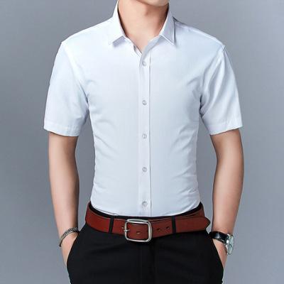 新款夏季男式短袖衬衫男士衬衫韩版修身青年纯色衬衣大码男装批发