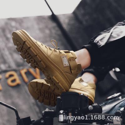 2019大头工装男鞋复古潮高帮韩版男士休闲鞋潮流厚底户外马丁单鞋