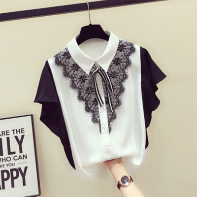 【好质量】2019夏季新款设计感衬衣女短袖洋气蕾丝荷叶边雪纺小衫
