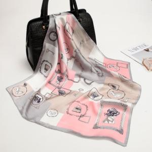 新款真丝印花小方巾女士绸缎桑蚕丝小丝巾领巾批发厂家定订制围巾