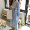 3882018秋季新款女装大码宽松衬衣裙长款棉麻外贸女衬衫