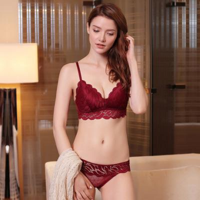 新品欧美文胸套装女士蕾丝内衣性感聚拢本命年红文胸厂家批发6010
