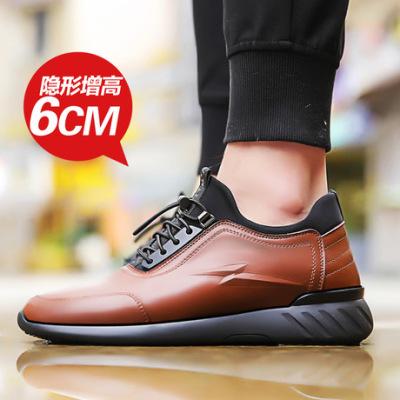 夏季爆款真皮男士内增高休闲鞋8cm运动鞋透气镂空皮鞋增高鞋批发