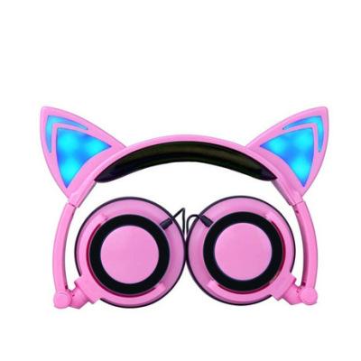 跨境专供 爆款 新款儿童卡通猫耳朵头戴式发光可折叠手机音乐耳机