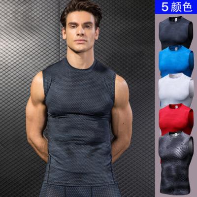 男士3D立体印花 健身跑步运动背心 紧身弹力坎肩背心速干衣服4022