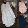 EBAY速卖tong热卖 欧美女装蕾丝刺绣长袖衬衫 宽松女士上衣055