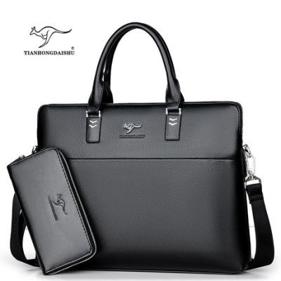 天弘袋鼠厂家直销男士包包手提包横款商务公文包皮包单肩斜挎包潮