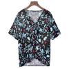 亚马逊wish2019欧美夏季爆款V领胸口扭结印花宽松雪纺衬衫上衣女