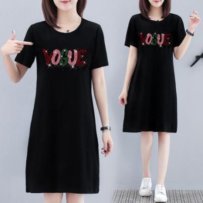 【多款混批】2019夏装新款中长款短袖T恤宽松大码显瘦连衣裙女