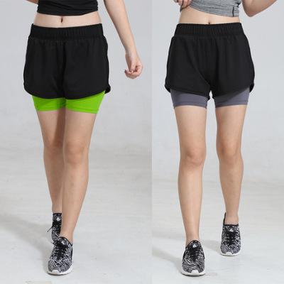 假两件双层专业跑步健身短裤女高弹力吸汗速干瑜伽紧身显瘦运动裤