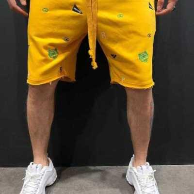肌肉兄弟跨境潮牌乞丐短裤运动休闲时尚绣花短裤夏季男裤厂家直销