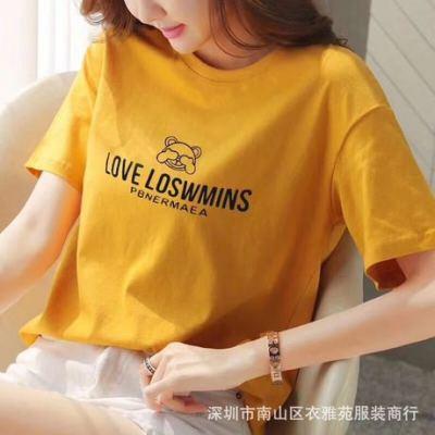 2019夏季新款韩版纯棉宽松女装印花女式短袖T恤厂家批发