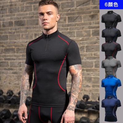 男士立领健身短袖 PRO训练跑步弹力T恤运动速干衣紧身短袖91203