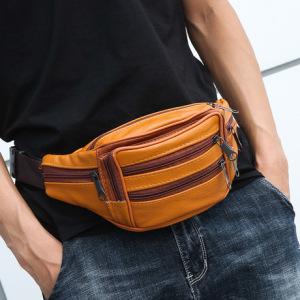 厂家直销头层牛皮手机腰包大容量运动腰包包斜跨男士头层真皮腰包