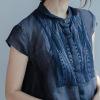高端原创品牌2019春夏新款大码透视女式宽松衬衫短袖翻领上衣