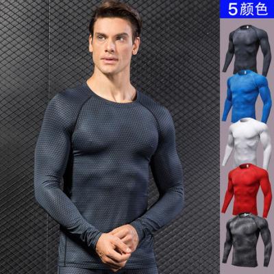 男士3D立体印花 健身跑步训练长袖 amazon紧身弹力排汗速干衣4029