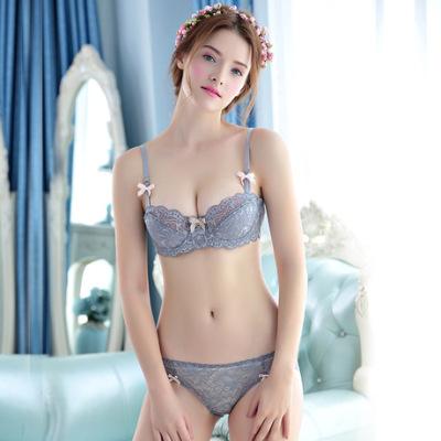 厂家批发一件代发新品欧美女士薄款性感蕾丝半杯内衣文胸套装W311