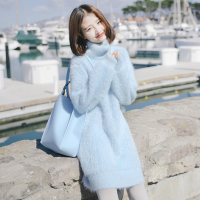 2019秋冬新款高领毛衣女 软奶蓝水貂绒套头针织衫 宽松女装加工