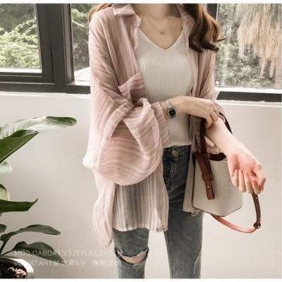 2019韩版宽松灯笼袖条纹衬衫女雪纺开衫防晒衫外套