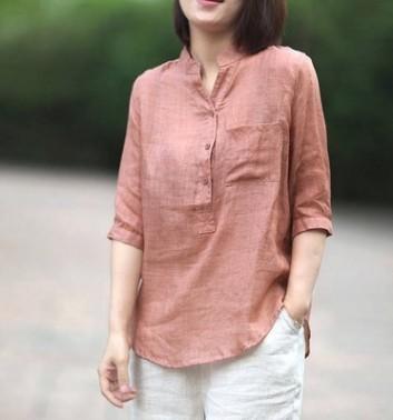 韩版休闲棉麻立领衬衫女2019夏新款宽松随性中袖薄款上衣