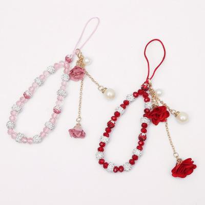 创意短款手绳 石膏水晶挂绳 手机壳吊坠花朵挂件 diy流苏饰品配件