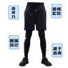 紧身裤假两件健身裤男士 弹力跑步速干小脚裤亚马逊训练跑步长裤