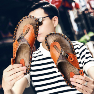 大码男鞋夏季手工沙滩鞋男38-48码men sandals人字拖鞋牛皮凉鞋男