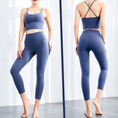 新款跨境裸感无缝瑜伽裤女紧身 运动跑步高翘臀蜜桃健身裤锦纶