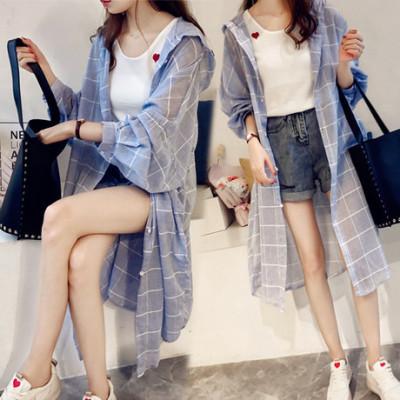 防晒衣女中长款夏季韩版宽松百搭格子衬衫外衣服空调开衫外套