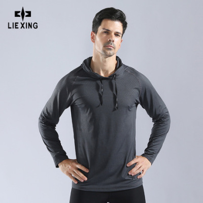 男秋冬带帽卫衣套头高弹速干健身服跑步训练服运动服长袖T恤10857