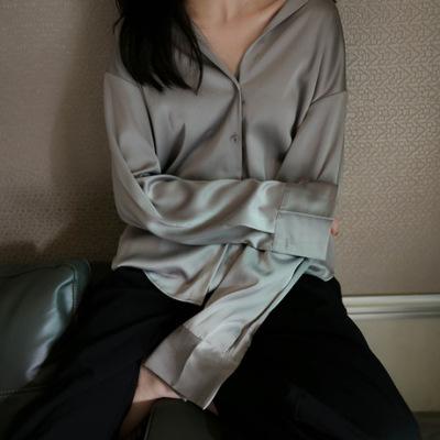 缎面衬衫女2019初秋新款韩版复古港味衬衣长袖宽松气质绸缎上衣潮