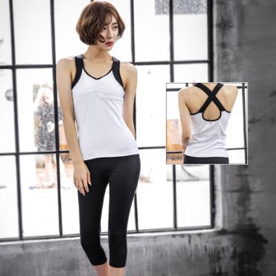 厂家直销新款瑜伽服镂空背心套装运动跑步健身房速干弹力紧身裤女